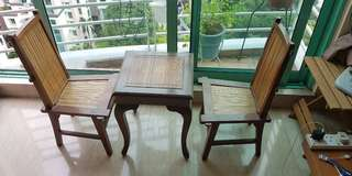 Antique teak miniature coffee table with 2 chairs