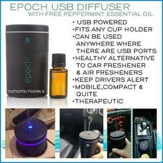 Epoch USB Diffuser w/ free Peppermint Essential Oi
