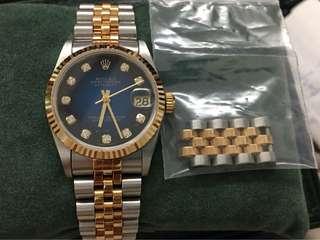 Rolex 16233 Datejust Blue Vignette Diamond Dial