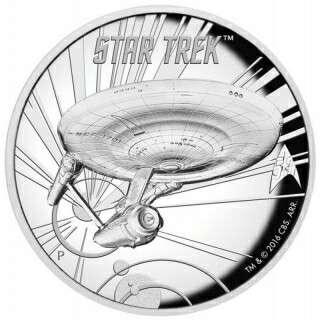 50th Anniversary 2016 Tuvalu 5 oz Silver Star Trek: Original U.S.S. Enterprise High Relief