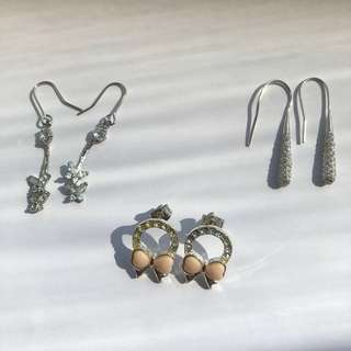 Earrings (dangle and studs) - set of 3 pairs