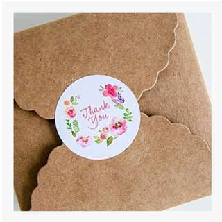 20pcs floral Thank you stickers