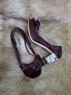 Authentic Miu Miu Purple/Red Patent Jewelled Heel Open Toe Bow Size 34.5