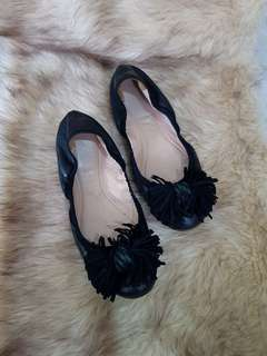 Authentic Bally Black Leather Bow Fringed Ballet Flats Size 35.5