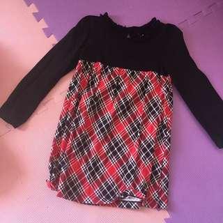 Plaid Long-sleeved Dress