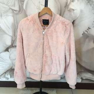 Blush, Furry & Cozy Bomber Jacket