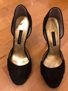 減價清櫃!黑色絹布高跟鞋👠👠👠