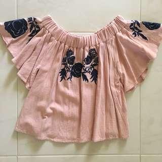 Pink Embroidered Off-Shoulder Top