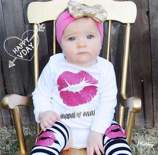 3pcs Baby Girls Romper Leggings Outfit 0-18M