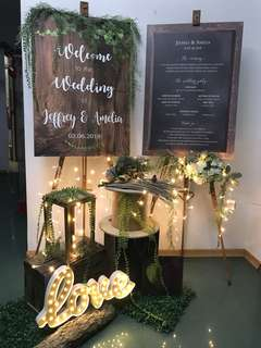 Wedding Signboard Programme Board Reception Props Deco Rustic Garden Theme