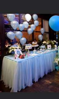 blue tutu table skirting for rent