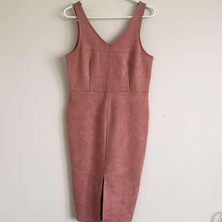 Pink Suede Midi Dress S12