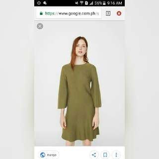 Used Once Mango Green Bell Sleeves Dress