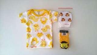 Yellow duckling romper bundle set