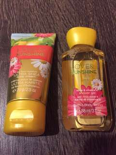 Travel size bath and body work