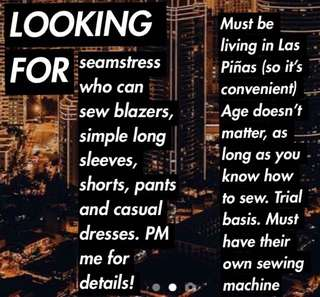 LOOKING FOR SEAMSTRESS