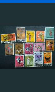 Singapore 1968 2nd Definitive Dance & Music Instrument Loose Set - 15v Used Stamps