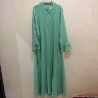 baju gamis warna hijau tosca model umbrella