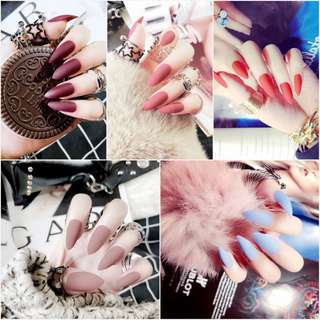 24pcs/Set Pretty Full Finished Stiletto False Nails Long Design Nude Pink Red Purple Matte Artificial Fake Nails Manicure Tools