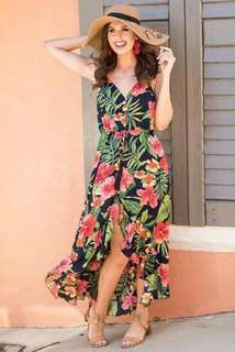 Floral Long back Dress