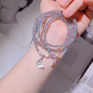 天然灰月光石+太陽石+淡水珍珠多圈手鏈