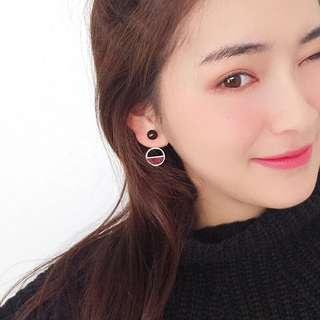 🚚 黑色半圓復古耳環(金/銀)♡預購♡