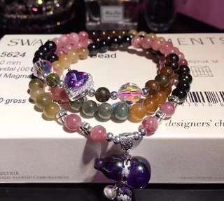 天然糖果🍬色碧壐多圈手鏈 + 925銀紫剛玉葫蘆吊墜