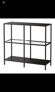 Ikea 層架組, 黑棕色, 玻璃,