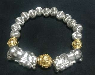 Silver pixiu & gold plated bracelet 银貔貅及镀金手链