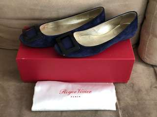 100% Real RV Roger Vivier Navy Gommette Ballerinas Suede Flats Shoes 深藍色平底鞋 - NOT VALENTINO CHANEL RUPERT SANDERSON MANOLO FERRAEGAMO TORY BURCH