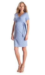 孕婦餵奶可上班裙maternity nursing faux wrap dress