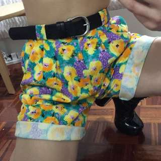 Vintage retro style floral high waisted long shorts