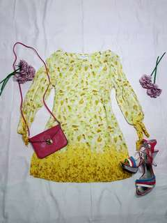 Yellow knot sleeves summer dress