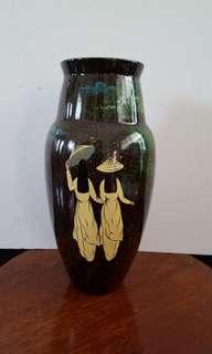 Vintage lacquer wooden vase