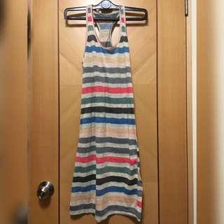 *面交特價*入膊彩色間條背心長裙