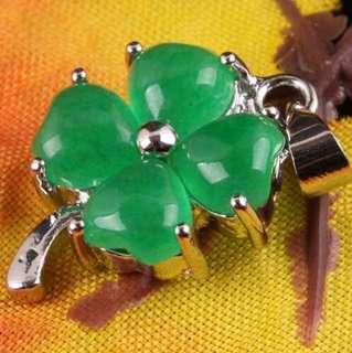 Necklace Liontin kalung jade clover