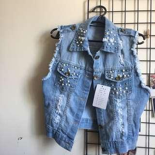 Pearl studded denim outerwear