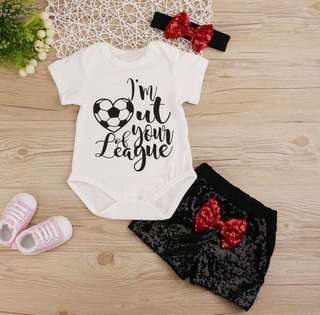 3pcs Girls Romper Sequin Shorts Outfit 0-18M