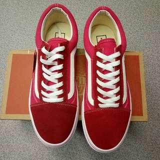 vans 萬斯 范斯 紅色 低統 低幫 男女情侶休閒板鞋 一腳蹬 平底鞋 滑板鞋