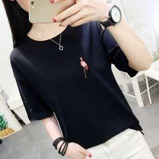 Plus Size Cute Flamingo Shirt Top Tee Up To 75KG [PO]
