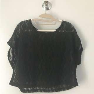 Una Rosa Black Lace Crop Top