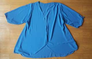 Plus size blue chiffon kimono