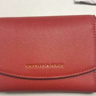 Charles and Keith Wallet 附原裝盒防塵袋 磚紅色 small envelope