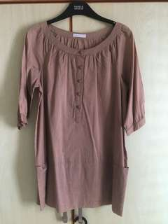 BN Brown Blouse with pockets and 3/4 sleeves