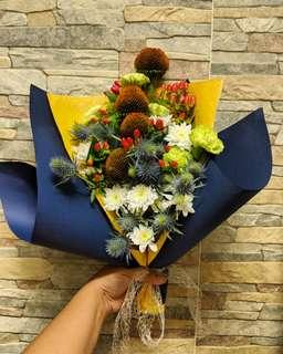 Masculine Flower Bouquet: Orange & Blue