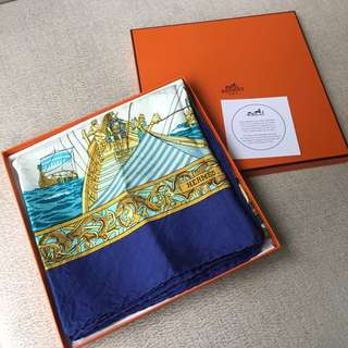 AUTHENTIC HERMES Silk Square Scarf Shawl