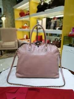 Valentino Rockstudded Dome satchel Bag