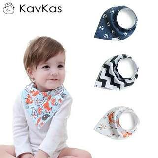 Printing Baby Bibs Saliva Towel Fashion Cartoon Pattern Cotton Rotating Turban Waterproof Child Scarf Accessories