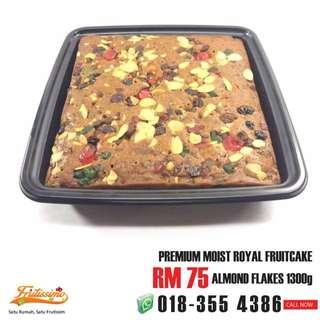 Moist Royal Fruitcake Almond Flakes 1300g / Kek Buah