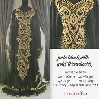 Jade Black Arabic Dress Jalabiya Kaftan Abaya Jubah